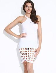 Gaine Robe Femme Décontracté / Quotidien Sexy / simple,Couleur Pleine Licou Mi-long Sans Manches Bleu / Blanc Polyester Eté Taille Normale