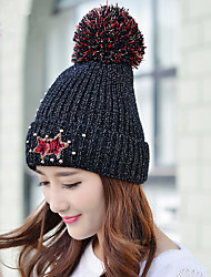cheap -Fashion Winter New Smiling Beads Beads Plus Velvet Single Cap Wool Hat Ms. Warm Knit Hat Cap Headset