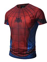 cheap -Men's Sports Cotton Slim T-shirt - Color Block Plaid, Print Round Neck