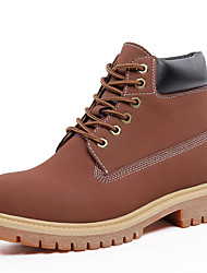 Men's Boots Spring Fall Comfort Fabric Athletic Flat Heel Lace-up Brown Yellow Light Brown