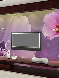 JAMMORY Art DecoWallpaper For Home Wall Covering Canvas Adhesive required Mural Pink Large Flowers XL XXL XXXL