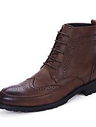 cheap -Men's Boots Fall Winter Comfort PU Casual Flat Heel Lace-up Black Blue Brown