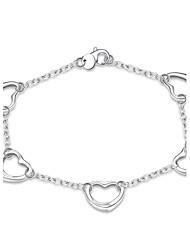 Dámské Řetězové & Ploché Náramky Měď Postříbřené Srdce Módní Bohemia Style Punkový styl Přizpůsobeno Heart Shape Stříbrná Šperky 1ks