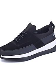 Feminino-Tênis-Conforto-Rasteiro-Preto Vermelho Preto e Branco-Materiais Customizados-Ar-Livre Para Esporte Casual