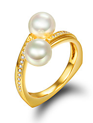 Ring Engagement Ring Pearl Pearl Imitation Pearl Gold Plated 18K gold Golden Jewelry Wedding Party Daily Casual 1pc