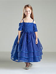cheap -Princess Ankle Length Flower Girl Dress - Cotton Half Sleeves Jewel Neck by Anbaby