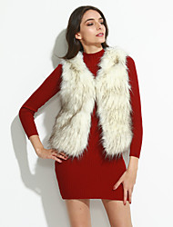 Women's Plus Size / Party/Cocktail Simple Fur Coat,Solid V Neck Sleeveless Fall / Winter White / Beige / Black Acrylic