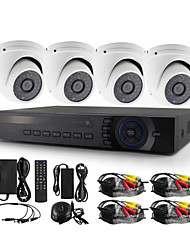 YanSe® 4 Channel 1200TVL Metal aluminum D/N CCTV Camera IR 36 LED Dome Waterproof Wired AHD DVR KIT Security System