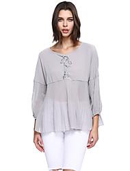 Damen Solide Niedlich Ausgehen Lässig/Alltäglich Übergröße Bluse,Rundhalsausschnitt ¾-Arm Silber Polyester