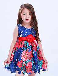 cheap -Girl's Daily Holiday Floral Dress,Cotton Polyester Summer Sleeveless Floral Lace Blue