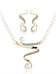 cheap -Crystal Pearl / Imitation Pearl / Rhinestone Jewelry Set 1 Necklace / 1 Pair of Earrings - Luxury Gold Jewelry Set For Wedding / Party /