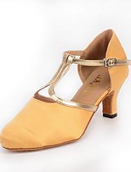 cheap -Women's Modern Silk PU Heel Indoor Buckle Splicing Gold Customizable