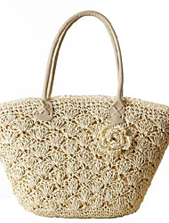 cheap -Women's Bags Straw Zipper Shoulder Bag Flower for Casual Office & Career Outdoor All Seasons White Beige Coffee Green