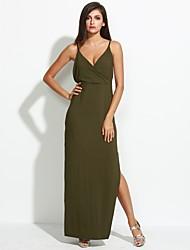 Femme Dos Nu Gaine Robe Décontracté/Quotidien/Soirée Sexy/simple,Couleur Pleine A Bretelles Maxi Sans Manches Vert PolyesterEté