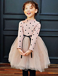 cheap -Girl's Daily Polka Dot Patchwork Dress,Cotton Spring Fall Long Sleeve Dot Lace Black Pink