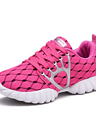 Women's Athletic Shoes Spring Fall PU Outdoor Athletic Flat Heel Lace-up Black Rose Pink Light Blue Walking