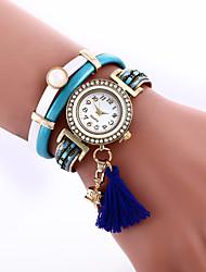 Women's Bracelet Watch Imitation Diamond Quartz Leather Band Black Blue Red Green
