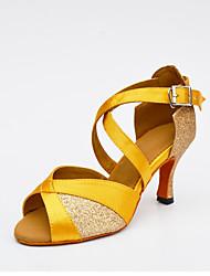 cheap -Women's Latin Glitter Silk Net Heel Indoor Buckle Splicing Gold Black Silver Yellow Customizable