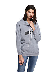 Women's Plus Size Casual/Daily Sports Active Hoodie Letter Round Neck Micro-elastic Cotton Polyester Long Sleeve Fall Winter