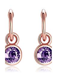 Femme Boucles d'oreille goutte Opale synthétique Mode Européen Imitation Diamant Alliage Forme de Cercle Forme Géométrique Bijoux Pour