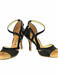 cheap -Women's Latin Salsa Leather Leatherette Sandal Heel Professional Performance Buckle Ribbon Tie Customized Heel Black Yellow Red