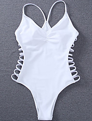 cheap -Women's Fashion Straped One-piece Swimwear Cross Solid Polyester White
