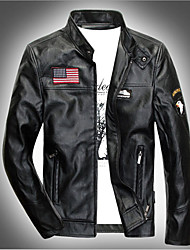 cheap -Men's Casual/Daily Simple / Punk & Gothic Leather Jackets,Print Long Sleeve Black Acrylic
