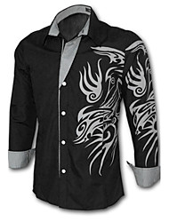 Men's Casual/Daily Plus Size Simple Spring Fall Shirt,Solid Print Long Sleeves Cotton Polyester