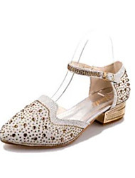 Women's Sandals PU Spring Summer Casual Buckle Low Heel Gold Black Silver Under 1in