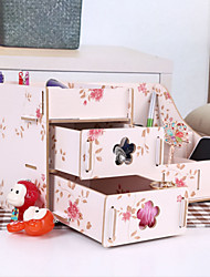 Wooden Assembled Flower Pattern Desk Storage With Drawer Desktop