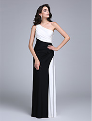 cheap -Sheath / Column One Shoulder Floor Length Jersey Formal Evening Dress with Side Draping by TS Couture®