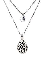 Недорогие -Жен. Свисающие Капля форма Мода Двойной слой Ожерелья с подвесками Стразы Искусственный бриллиант Сплав Ожерелья с подвесками Для