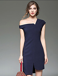 cheap -Women's Daily Going out Work Cute Street chic Sophisticated Bodycon Sheath Dress,Solid Asymmetrical Knee-length Above Knee Short Sleeves