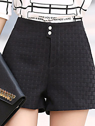 Women's Plus Size Straight Wide Leg Chinos Shorts Pants,Going out Casual/Daily Simple Cute Solid Beaded High Rise Zipper Button Polyester