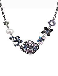 Women's Chain Necklaces Crystal Heart Flower Bowknot Geometric Rose Pearl Imitation Diamond Alloy Unique Design Logo Style Love Geometric