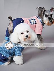 economico -Gatto Cane Tuta Abbigliamento per cani Casual A quadri Blu Rosa Costume Per animali domestici