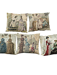 "Set of 5 Vintage Style Decorative Palace Decorative Cushion Covers Pillowcases (18""*18"")"