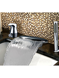 cheap -Contemporary Country Art Deco/Retro Widespread Waterfall with  Ceramic Valve Single Handle Three Holes for  Chrome , Bathtub Faucet