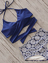 cheap -Women's Halter Neck Bikini - Tribal Print / High Waist
