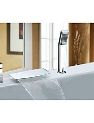 abordables -Moderne Décoration artistique/Rétro Diffusion large Jet pluie Soupape céramique Mitigeur Trois trous Chrome , Robinet de baignoire