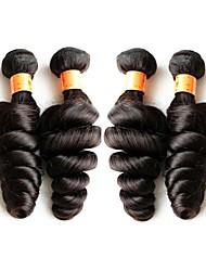 Недорогие -Бразильский Реми волос Пряди натуральных волос Реми Свободные волны Натуральные волосы Реми