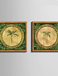 Floreale/Botanical Tele con cornice Set con cornice Decorazioni da parete,PVC Materiale Oro Senza passepartout con cornice For