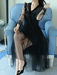 Courte Robe Femme Décontracté / Quotidien Travail Plage Sexy Bohème Mignon,Couleur Pleine Coeur Maxi Manches Longues Beige Noir Autres