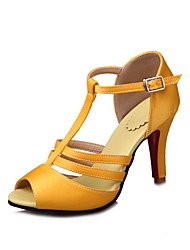 Women's Sandals Summer Comfort Ankle Strap Club Shoes PU Wedding Dress Party & Evening Stiletto Heel Buckle White Black Yellow Red Walking