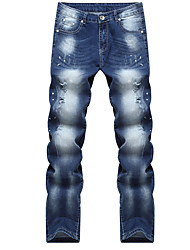 preiswerte -Herren Freizeit Mittlere Hüfthöhe Mikro-elastisch Gerade Jeans Hose,Baumwolle Frühling Herbst Ganzjährig Solide