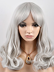 cheap -Synthetic Hair Wigs Loose Wave Capless Carnival Wig Halloween Wig Natural Wigs Medium Gray Synthetic Wig