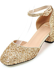 cheap -Women's Shoes Customized Materials Spring Summer Fall Club Shoes Sandals Chunky Heel Square Toe Sequin For Wedding Dress Party & Evening