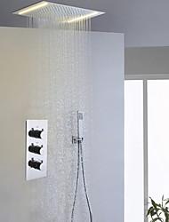 Contemporâneo Sistema do Chuveiro LED Chuveiro Tipo Chuva Chuveiro de Mão Incluído with  Válvula Cerâmica Três Handles três furos for