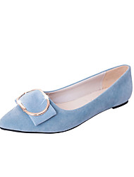 Women's Flats Comfort Suede Spring Casual Walking Comfort Hollow-out Flat Heel Black Gray Blue Blushing Pink 1in-1 3/4in
