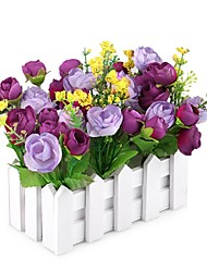 economico -1 Ramo Tessuto sintetico Rose Fiori da tavolo Fiori Artificiali 6.5*3.6*5.5